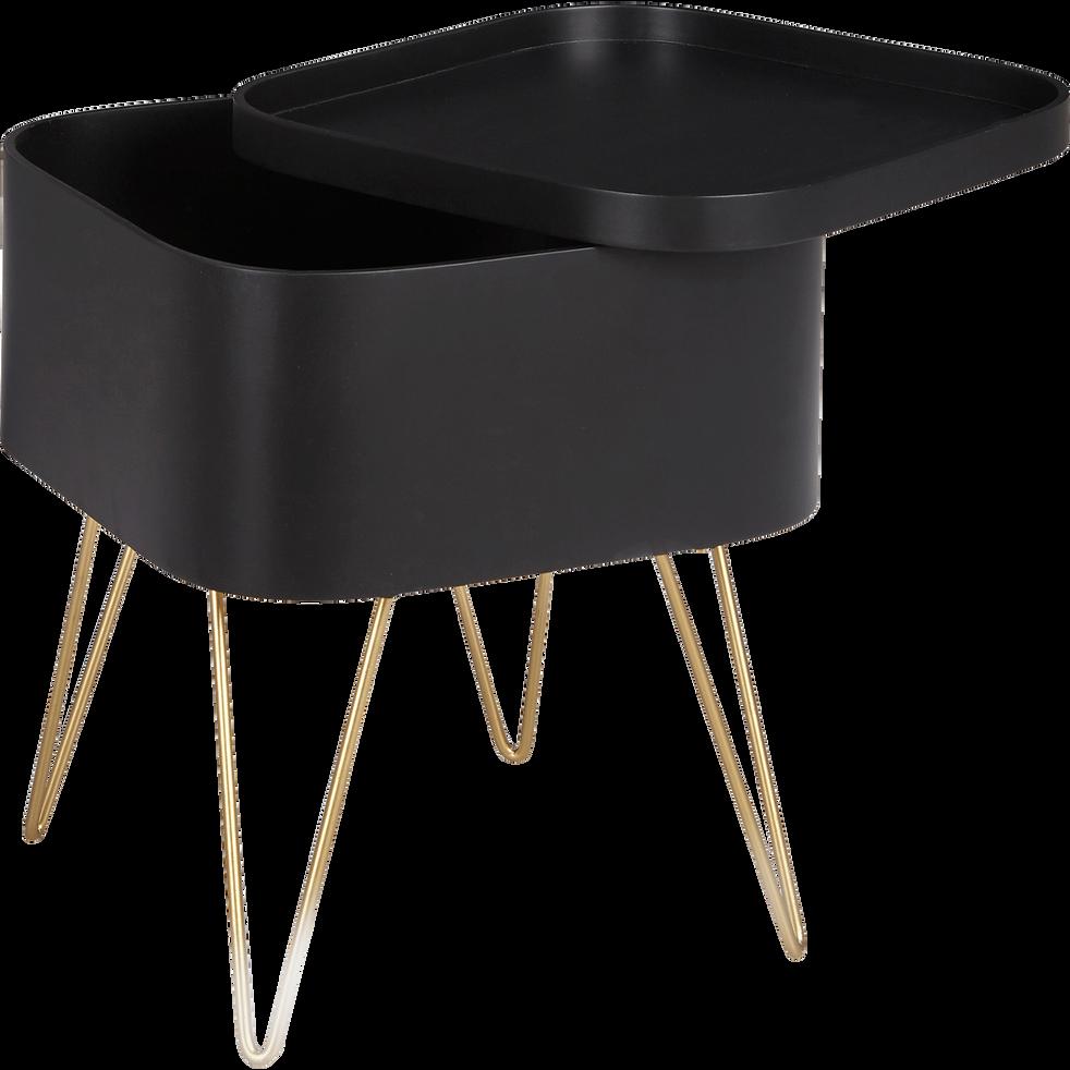 Bout de canapé noir rangeant avec pieds épingles-LINO