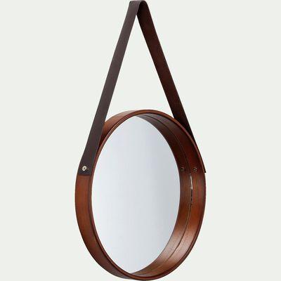 Miroir rond en bois avec sangle D30cm-JANIS