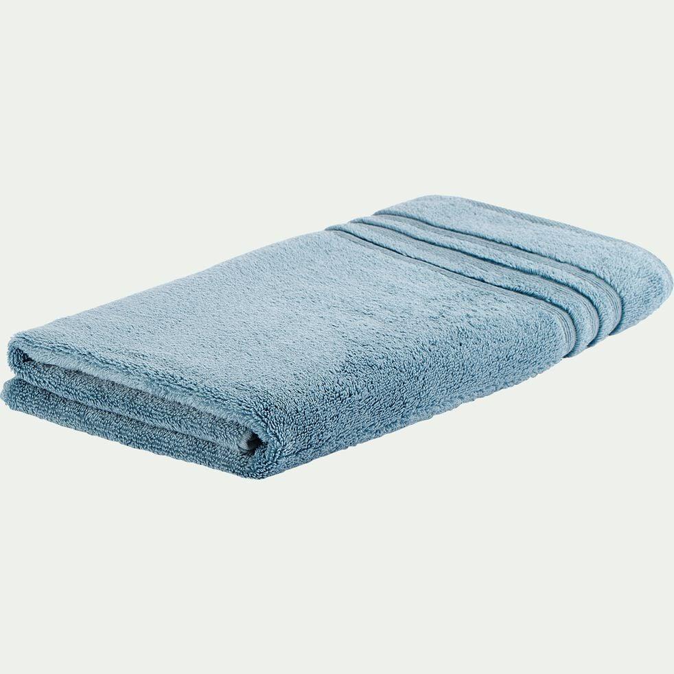 Drap de douche bouclette en coton - bleu autan 70x140cm-Noun