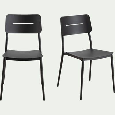 Chaise de jardin empilable en aluminium - noir-TOMA