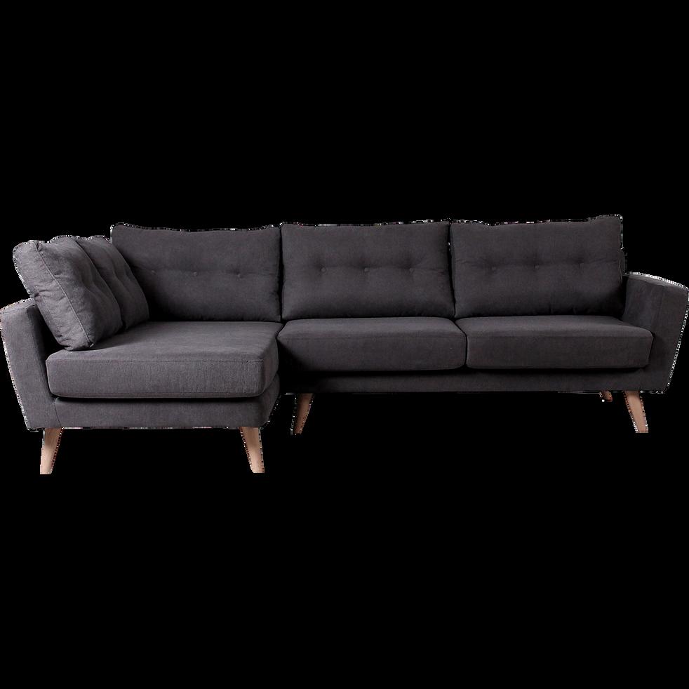 Canapé d'angle fixe gauche en tissu gris-ICONE