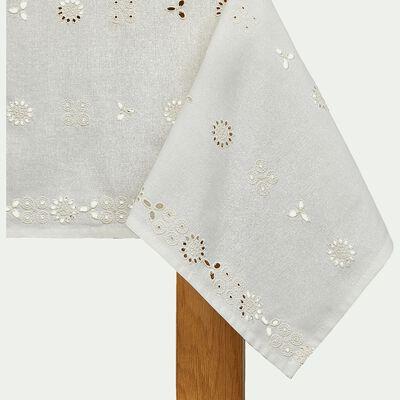 Nappe en coton - blanc 140x250cm-TINTO