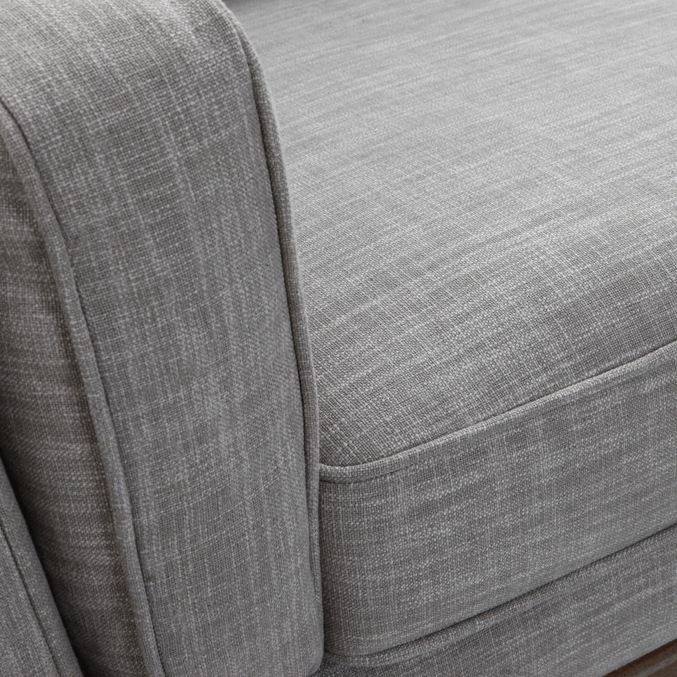 Canapé 3 places fixe en tissu gris chiné clair-ASTORIA