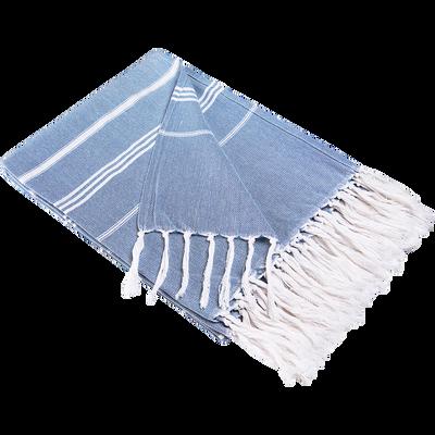 Fouta en coton bleu à franges 130x170cm-GOBIE