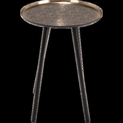 Bout de canapé en métal noir motif jasmin-CRETE