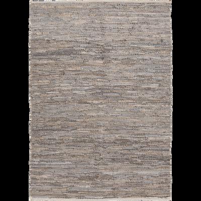 Tapis tressé en cuir gris 100x150 cm-MARIELLE