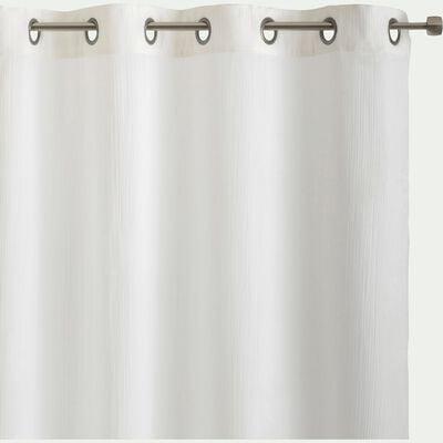 Voilage à œillets en double gaze de coton - blanc écru 130x250cm-SUZETTE