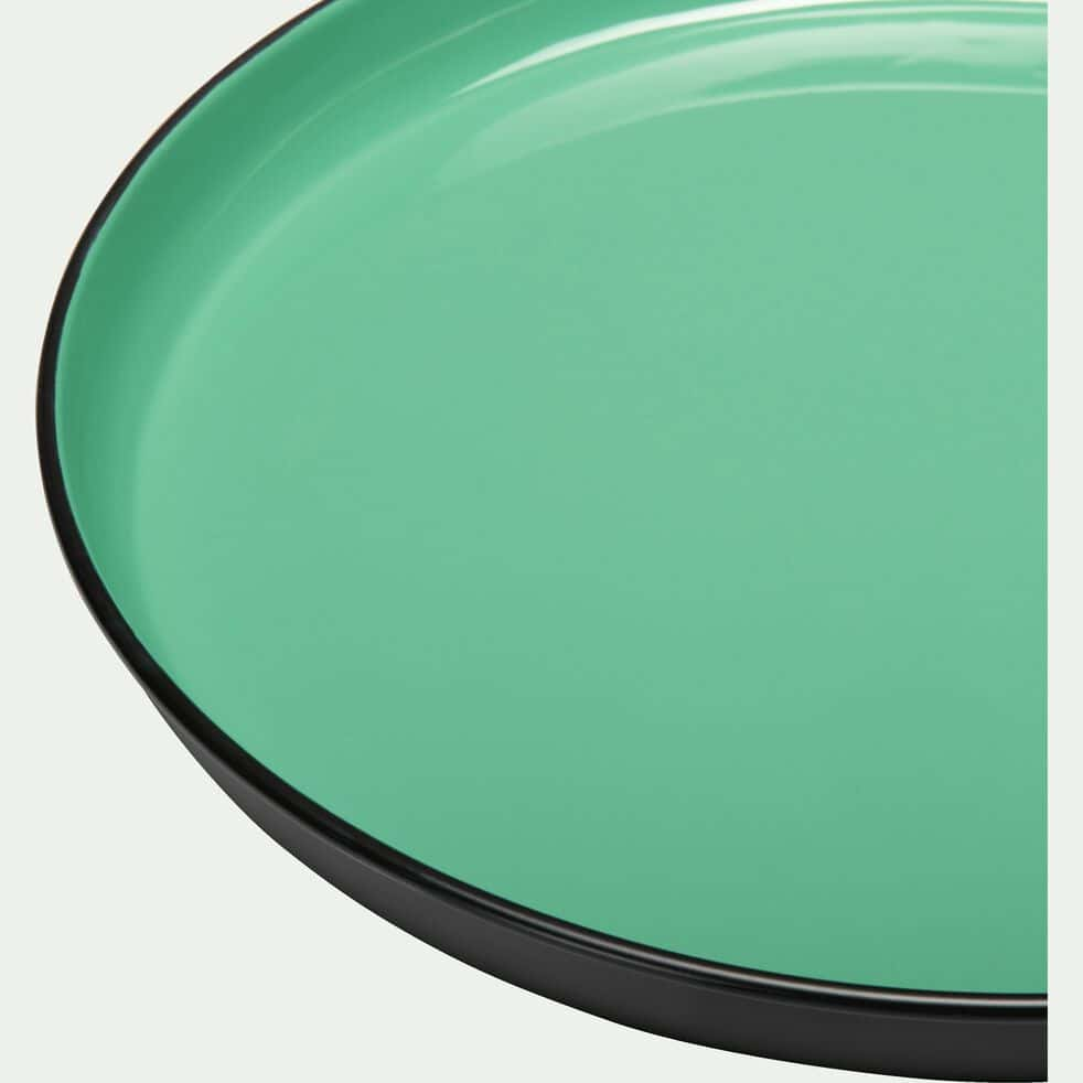 Plateau rond en métal émaillé - vert menthe D30cm-ELISA