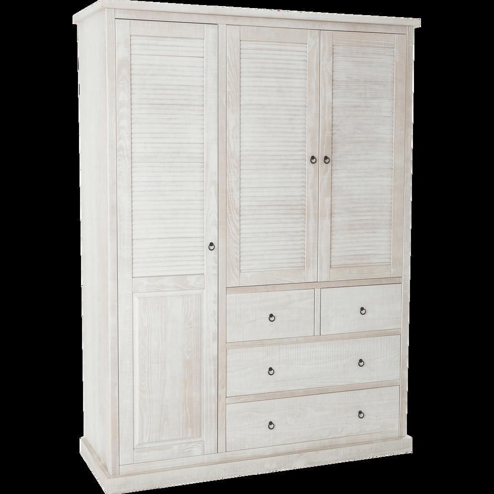 Armoire 3 portes battante 4 tiroirs en pin brossé Blanc - JALOUSIE ...