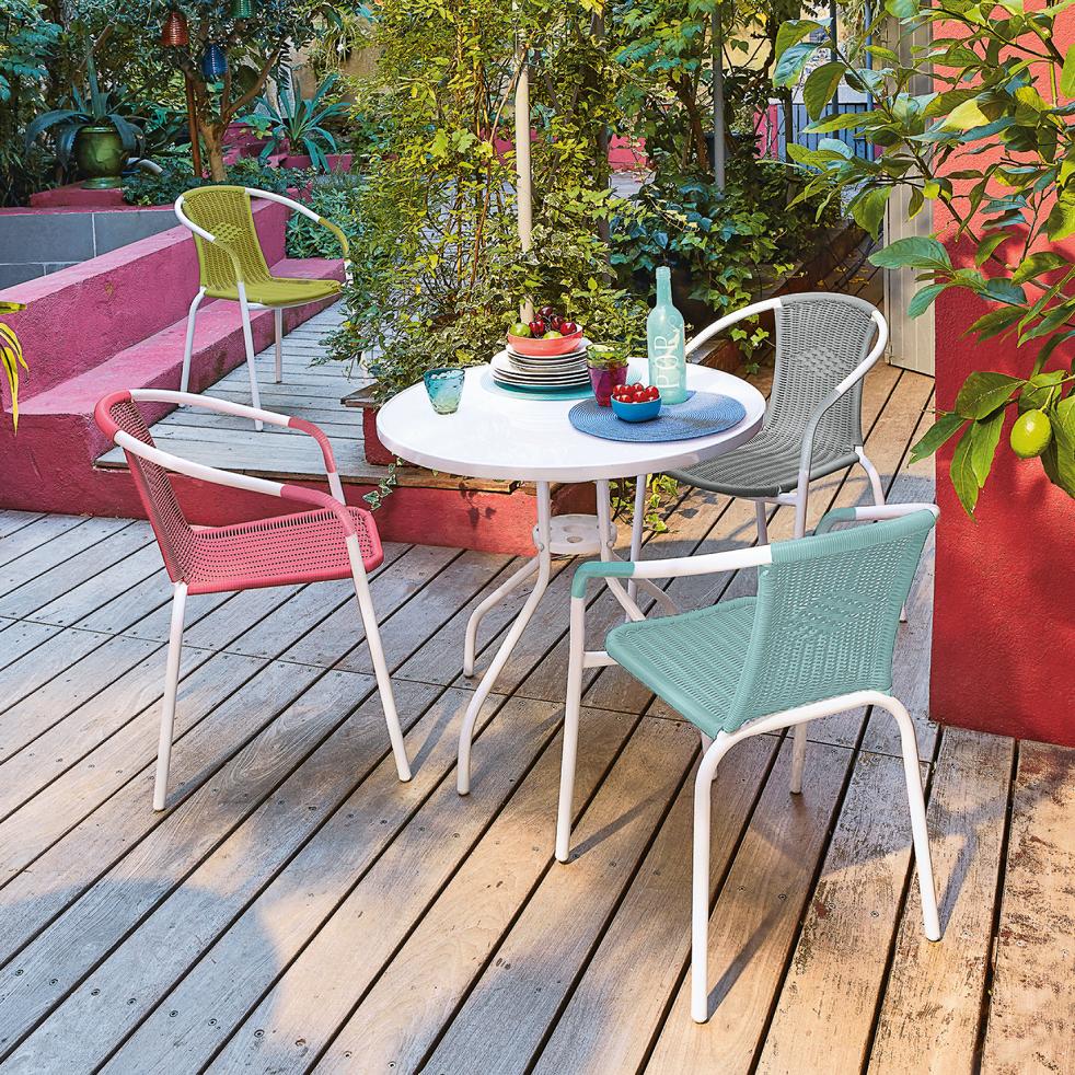 Table de jardin blanche en acier et verre (4 places)-LIVIA