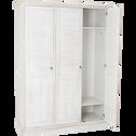 Armoire 3 portes battantes en pin brossé Blanc-JALOUSIE