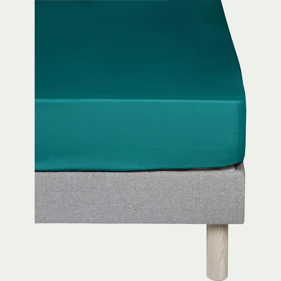 Drap housse en coton - bleu niolon 140x200cm B25cm-CALANQUES