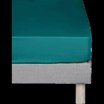 Drap housse en coton Bleu niolon 140x200cm-bonnet 25cm-CALANQUES