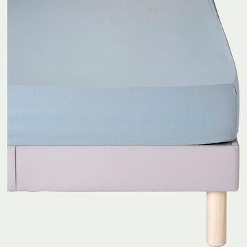 Drap housse en coton - bleu calaluna 140x200cm B30cm-CALANQUES