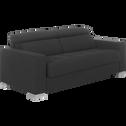 Canapé fixe 3 places en tissu gris foncé-Mauro