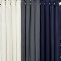 Rideau à œillets en coton et lin gris 130x250cm-LEONY