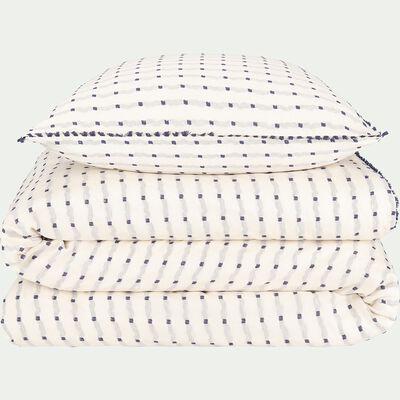 Housse de couette en jacquart tissé teint 240x220 + 2 taies d'oreillers-TAREK