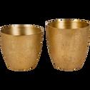 Cache-pot en aluminium doré H14xD15cm-MACE