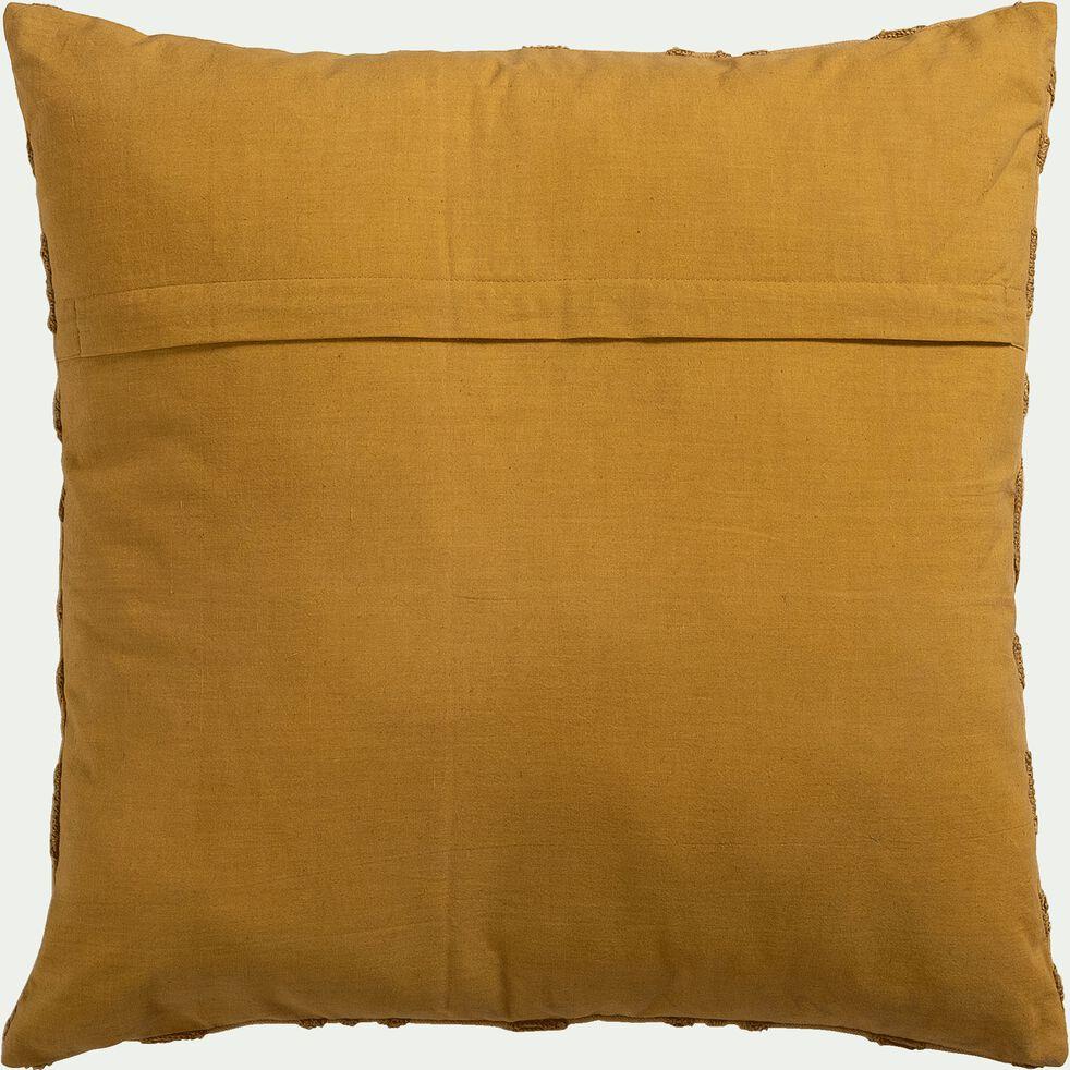 Coussin brodé en coton - jaune argan 45x45cm-LOUXOR