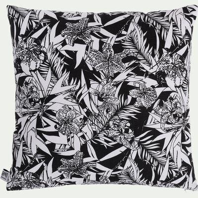 Coussin motif Orchidée en lin et coton - noir et blanc 45x45cm-ORCHIDEE