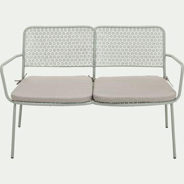 Canapé de jardin en métal - vert olivier (2 places)-SOLAYA