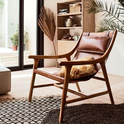 Fauteuil en bois et cuir - camel-RENACO