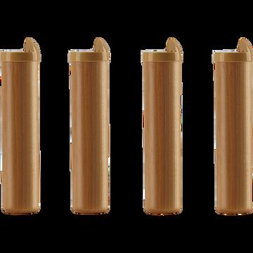 Pieds de sommier cadre à lattes en hêtre massif H22cm (jeu de 4)-Basik