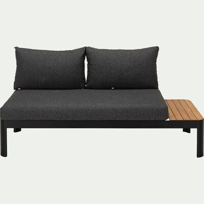 Salon de jardin en teck et aluminium (2 places) - noir