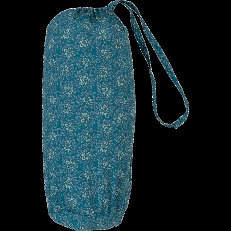 Drap housse 160x200cm en satin motif fleurs de jasmin-SOUN