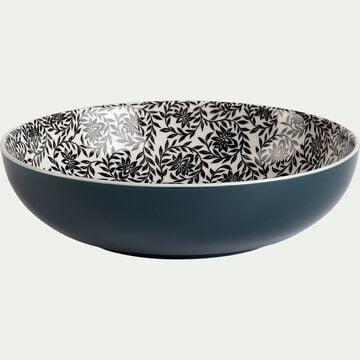 Assiette creuse en porcelaine motifs jasmin - bleu figuerolles D21cm-AIX