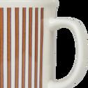 Mug en porcelaine rouge rayé 35cl-CAFI