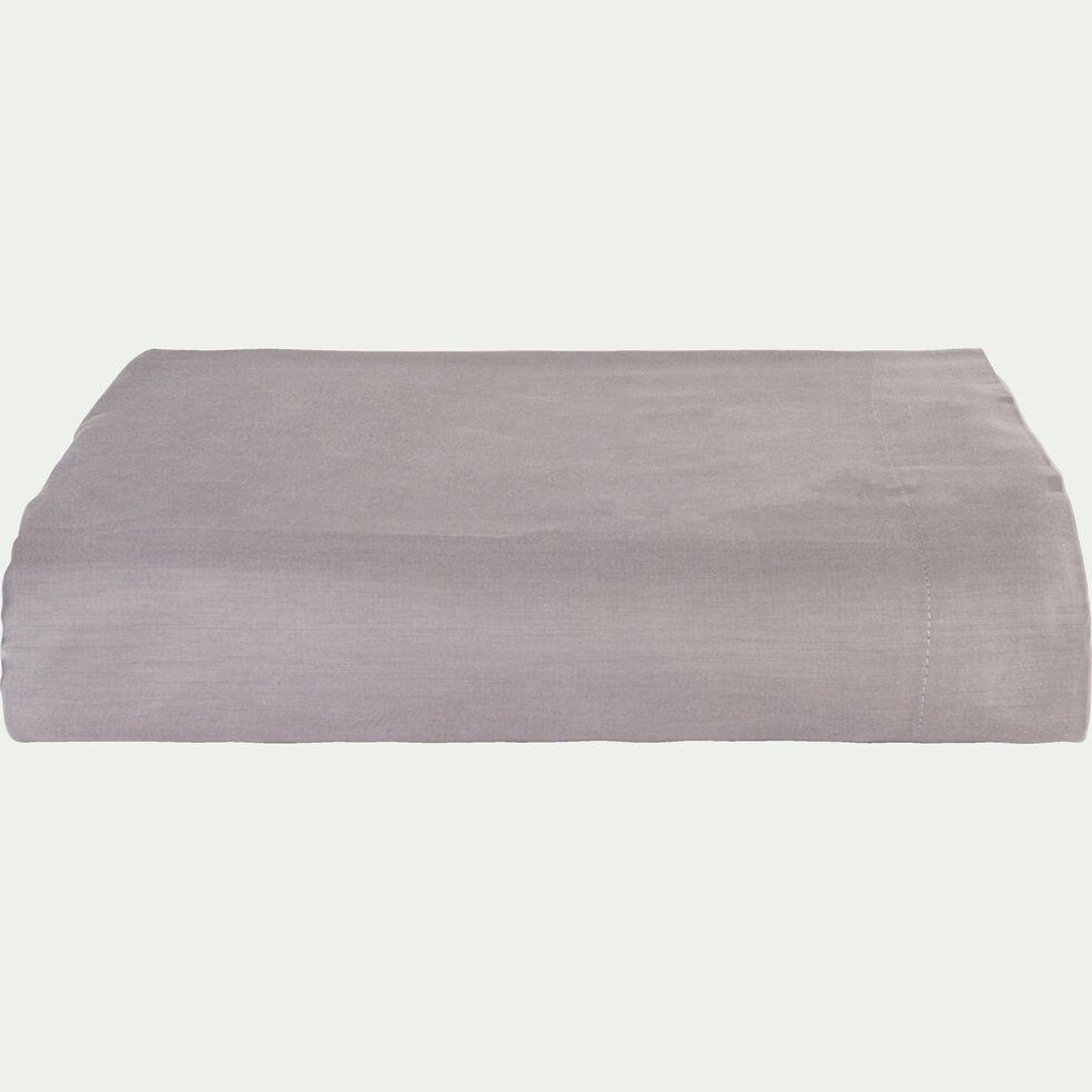 Drap plat rayé en satin - gris restanque 270x300cm-SANTIS