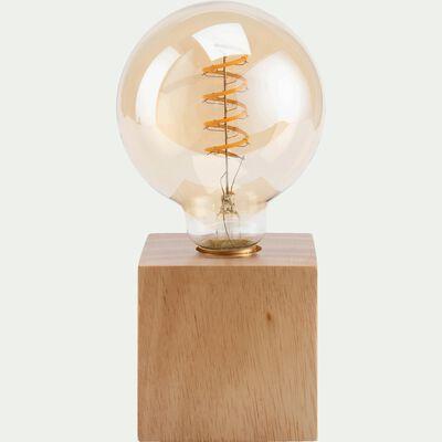 Lampe à poser cube en bois - L10xl10xH20cm-PESO