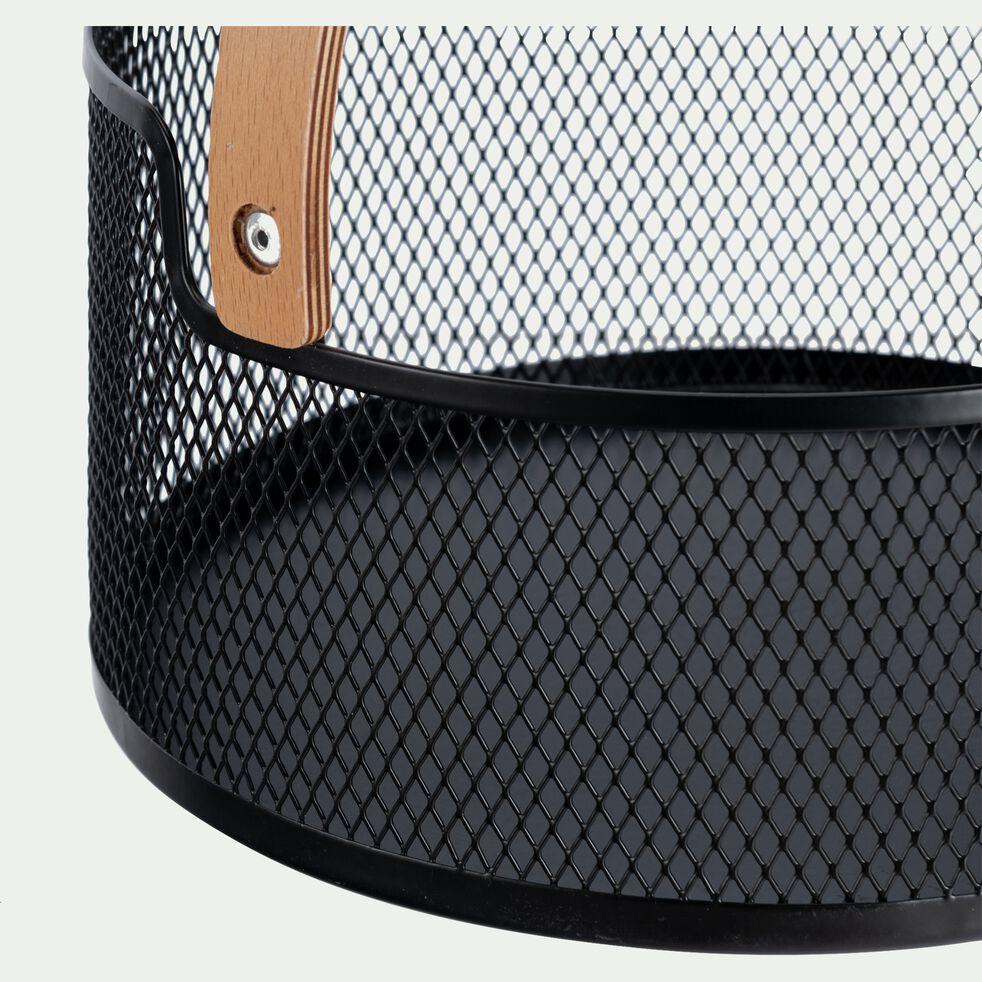 Corbeille à fruiits en métal tressé avec poignée en bois D25cm-PAN