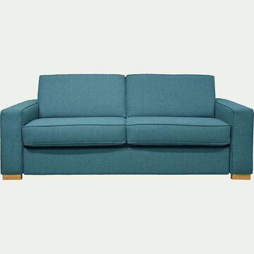 Canapé 3 places convertible en tissu bleu avec matelas 16cm à mémoire de forme-CALIFORNIA