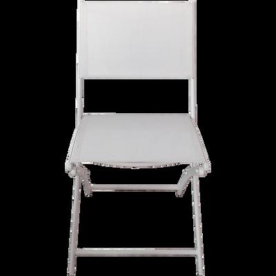 Chaise de jardin pliante blanche en polyester-LEMON