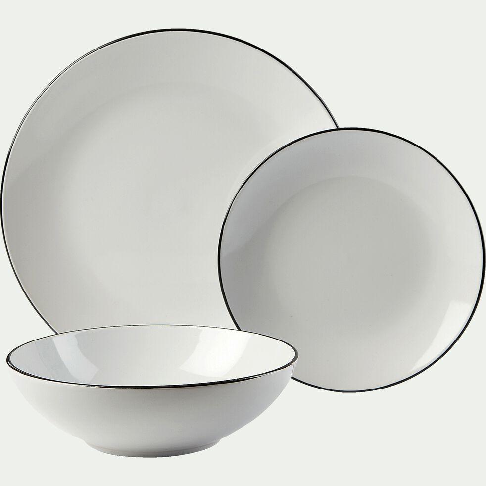 Assiette à dessert en grès - blanc D19,2cm-ANNE