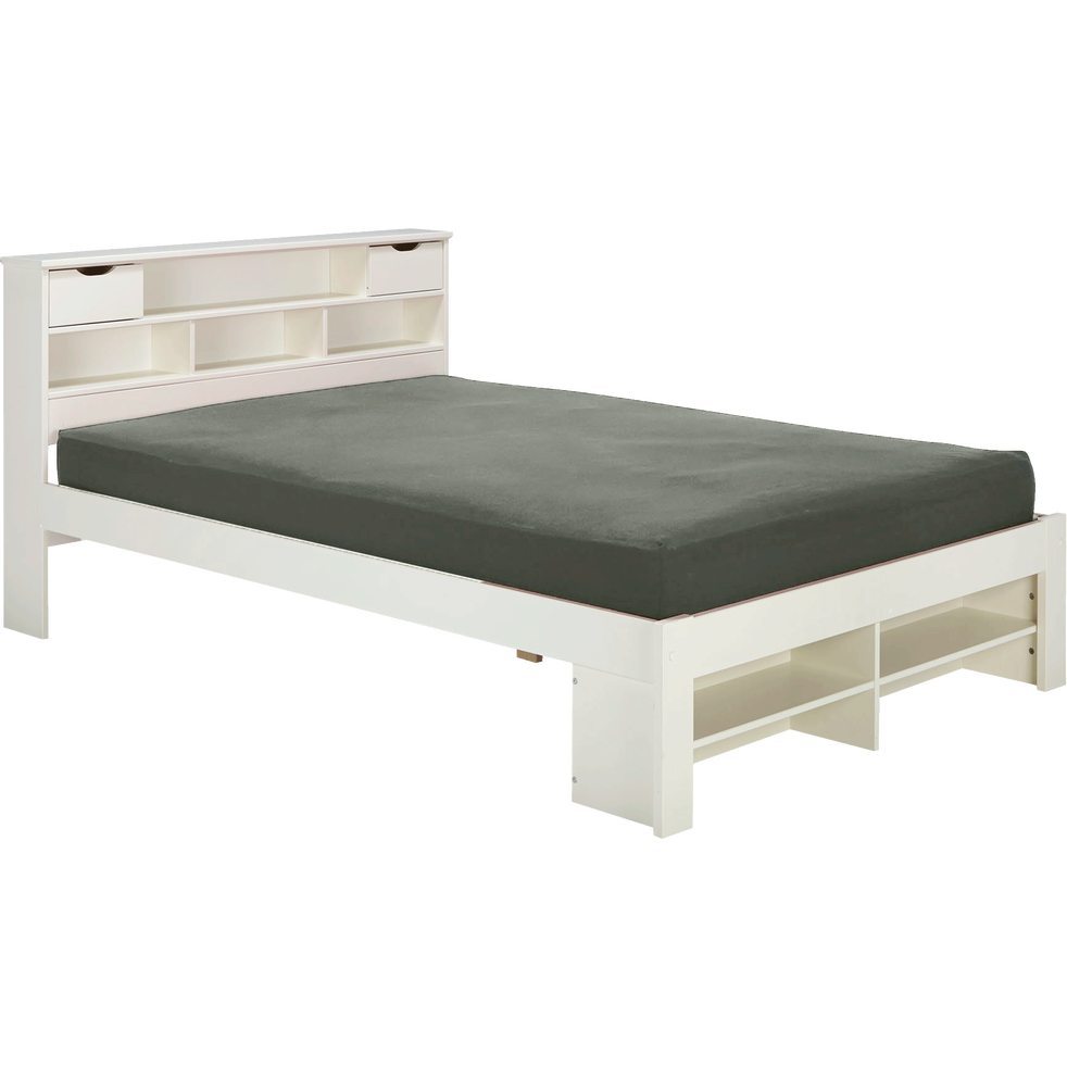 lit 2 places en pin massif avec t te de lit blanc 160x200. Black Bedroom Furniture Sets. Home Design Ideas