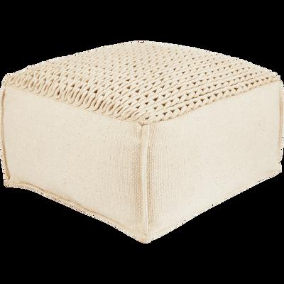 Pouf en coton beige avec assise tressée 50x50x28cm-IAN