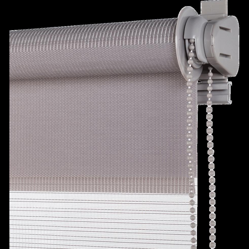 Store enrouleur tamisant épais gris clair 62x190cm-JOUR-NUIT