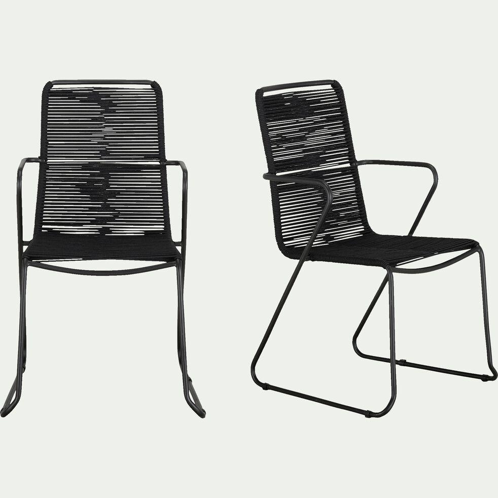Chaise de jardin avec accoudoirs en métal et corde - noir-NORCIA