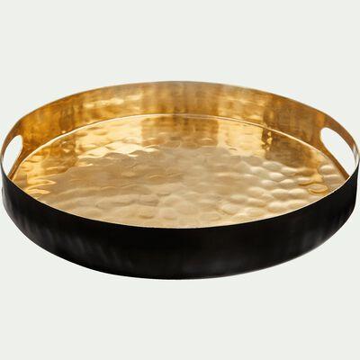 Plateau en métal noir et doré D30cm-Ermita