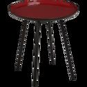 Bout de canapé en acier epoxy avec plateau rouge émaillé-VITOUR