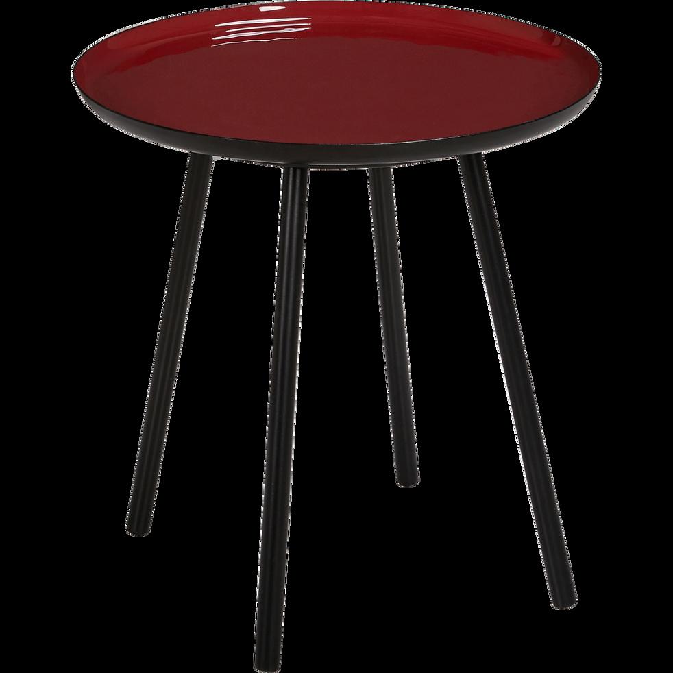 bout de canap en acier epoxy avec plateau rouge maill. Black Bedroom Furniture Sets. Home Design Ideas