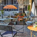 Table de jardin carrée pliante - marron rustrel (2 places)-CERVIONE