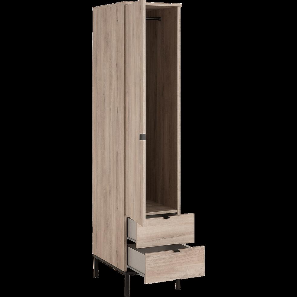 Colonne de rangement avec une porte et deux tiroirs finition chêne-CASTEL