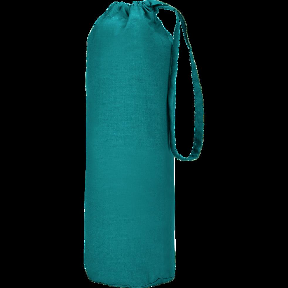 Drap housse en coton Bleu niolon 160x200cm -bonnet 25cm-CALANQUES