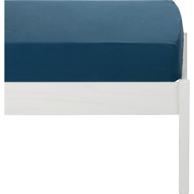 Drap housse en coton lavé bleu figuerolles 90x140 cm-CALANQUES