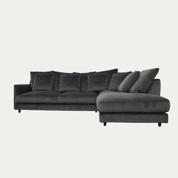 Canapé d'angle droit fixe en velours - gris restanque-LENITA
