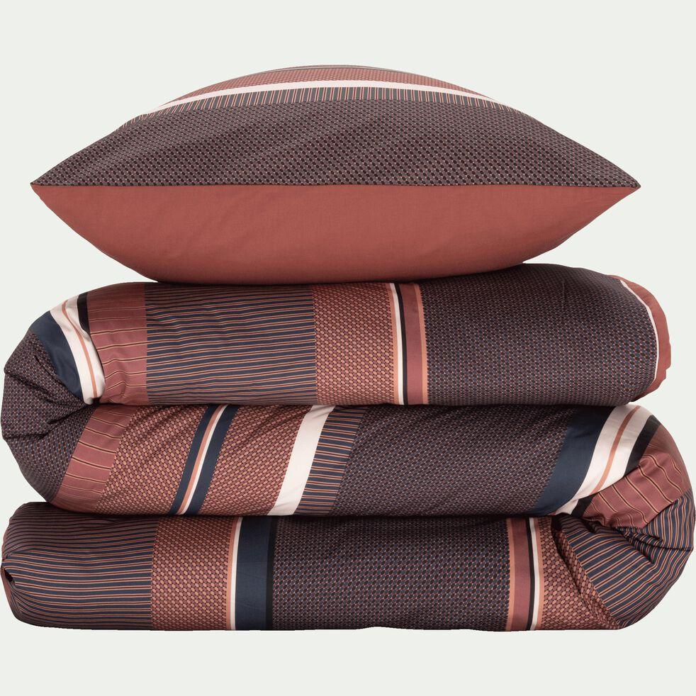Housse de couette et 2 taies d'oreiller en percale de coton - brun ombre 260x240cm-GASPARD
